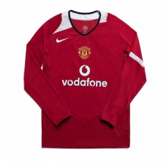 2006 Manchester United Home Long Sleeve Retro Soccer Jersey Shirt