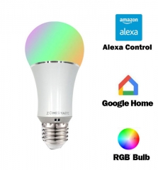 Zemismart E27 6W WiFi RGBW Led Bulb Light Compatible with Echo Alexa Google Home Remote Control by IOS & Android app With Feedback White Color