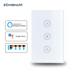 Zemismart US Alexa Echo Smart Ceiling Fan Switch Wifi APP Timer Speed Group Control Speed Regulation Home Wall Switch