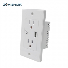 Zemismart WiFi US In Wall Outlet Work With Alexa Google Home Mini Assistant With 2 Outlet and One USB Port
