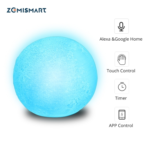 Christmas Gift LED Remote Control Light Compatible with Alexa Google Home 3d Printing Children Bedroom Colorful Moon Lamp APP