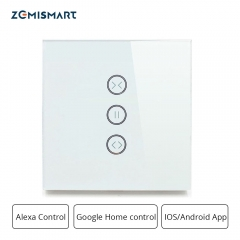 Zemismart EU type Blind Switch curtain Wall Switch For Standard Roller Motor with 4 Wires Work with Google Home Alexa Wifi Support APP Control CE ROHS