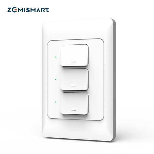 Zemismart Tuya WiFi Light Switch Alexa Google Home Enable Smart Life Wall Push Button Switch 1/2/3 Gangs Neutral Optional
