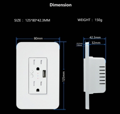 Zemismart US Wall Outlet 15A With USB Port Smart Life WiFi Control Alexa Google Home Voice Control