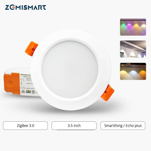 ZigBee 3.5 inch Smart RGBW Downlight Compatible with Hue Led Bulb Light Work with Amazon Alexa Echo Google home Smarthings Via zemismart Hub