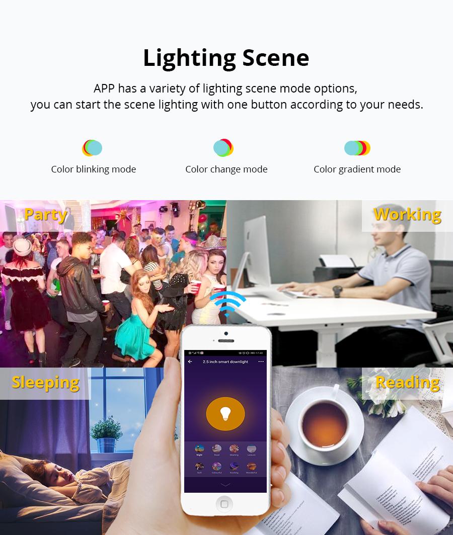 Zemismart 2 5 inch WiFi RGBW Led Downlight 10w Voice Control Alexa Echo Dot  Spot Show Google Home Assistant IFTTT Home Automation