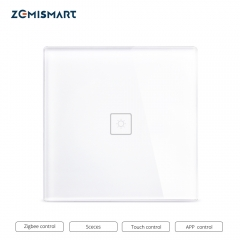 Zigbee 3.0  EU One Gang Wall Light Switch Compatible with SmartTing Hub Echo Plus APP Phone Voice Control