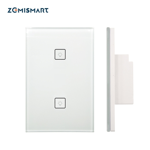 Zigbee 2 Gangs Wall Light Switch Work With Amazon Alexa Google Home via SmartThings Bridge APP Phone Voice Control