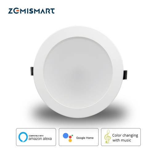 Zemismart 6 inch WiFi RGBCW Color Changing With Music for Home Party Led Downlight Ceiling Light Alexa Google Home Enable