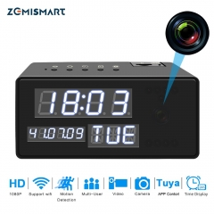 Smart Tuya Clock CCTV Camera 1080P HD Night Vision Motion Detection Sensor Security Digital Camera Baby Pet Monitor Black