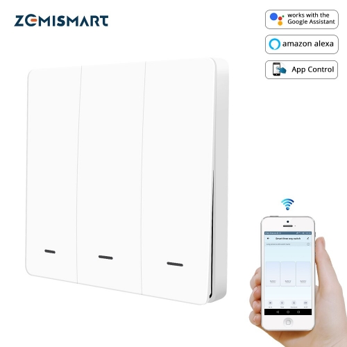 Zemismart WiFi Wall Push Switch Alexa Google Home Tuya Light switches Three Gangs Two Gangs One Gang Physical Button