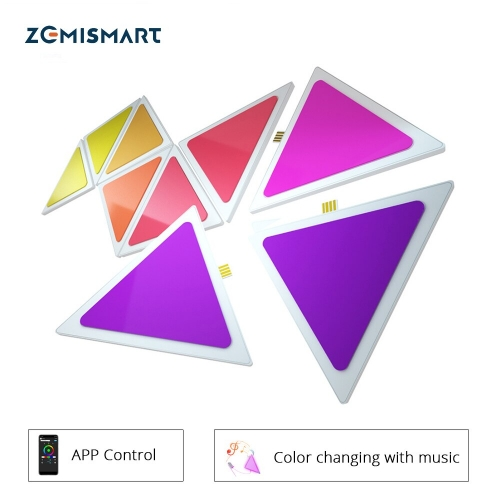 Zemismart Music Syncing Smart LED Light Panels Tuya APP Control SMart Life Alexa Google Home Control for Room/Party/Wall Lighting