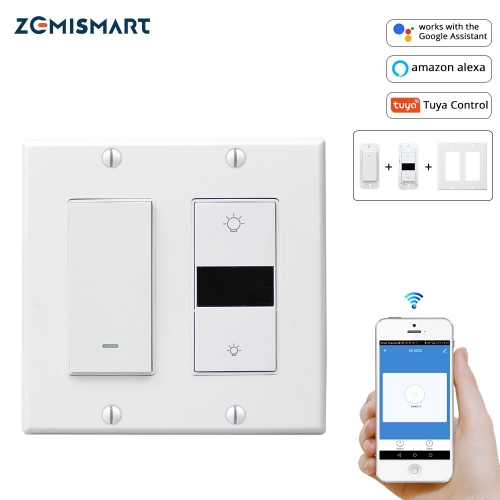 Smart Home Wall Light Switch Dimmer Switches 2 gangs Compatible with Alexa Google Assistant and  WiFi Tuya Control