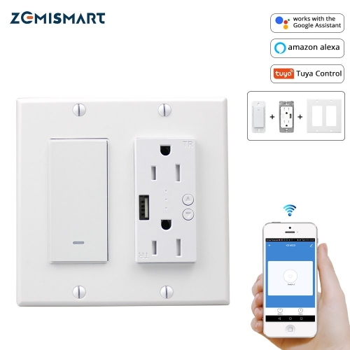 WiFi Light Switch with USB Port Outlet  US 2 gangs Tuya Control Alexa Enable 110V