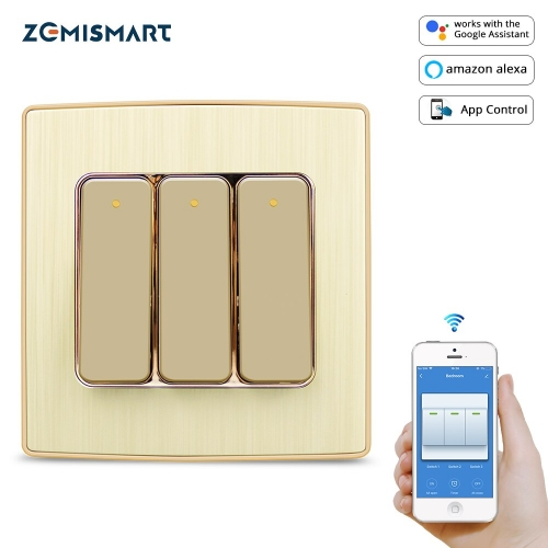 Zemismart WiFi Push Switch Smart Life Button Switch Alexa Echo Google Home Enable One Two Three Gangs