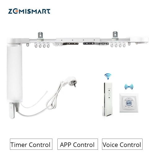Zemismart Wall Mount Ceiling Mount Electric Curtain WiFi Tuya APP Alexa Google Assistant  Voice Control Adjustable Track