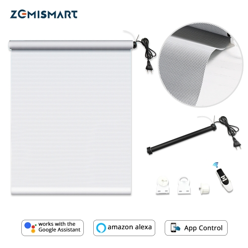 Zemismart  Block-out roller blind with curtains work with Google Home Alexa Smart Blind 5% Sunshine fabric