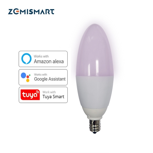 Zemismart E12 LED Candle Bulb Candlelight Work with Amazon Alexa Google Home 2.4g WIFI Home Automation 5w Chandelier Light 110v-240v C35