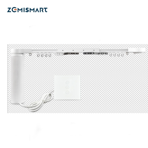 Smart House Motorized Zigbee Smart Curtains With Curtain Track Wall Switch SmarThings Control