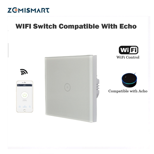 EU 1 Gang Wall Switch Compatible with Acho WiFi smart remote control Light Switch panel smart mobile control via APP Panel turn on/off switch