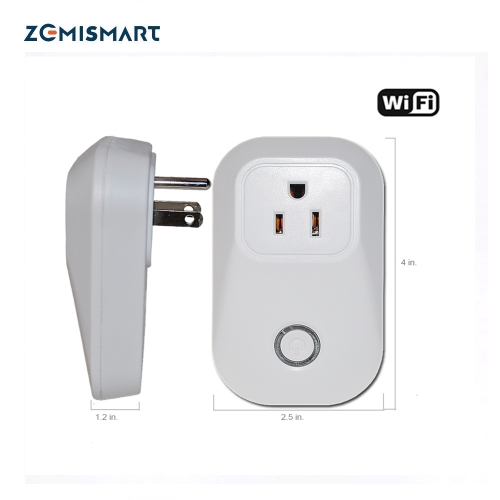 Zemismart WiFi Smart Power Socket Wireless Remote control Timer US Type 2.4G 10A Wifi Power plug outlet compatible with Amazon echo and echo dot