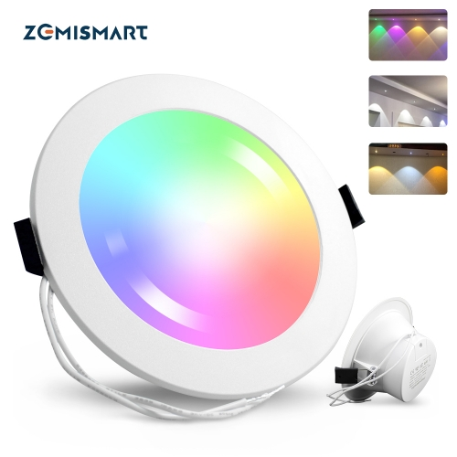 Zemismart 6 Inch Zigbee 3.0 RGBCW Led Downlight Colorful Ceiling Light Alexa Google Home Enable SmartThings Hue Control