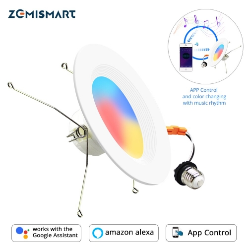 Zemismart Zigbee 3.0 E27 US Downlight Tuya Alexa Google Home Smart Things Dimmable 6 Inch Ceiling Recessed Light RGBCW Color Changing Lamp