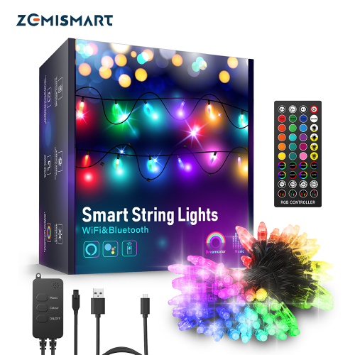 Zemismart Tuya WiFi Smart LED Fairy Lights IP66 WaterProof RGB Strip Light Work with Alexa Google Home Remote christmas tree lights Decor