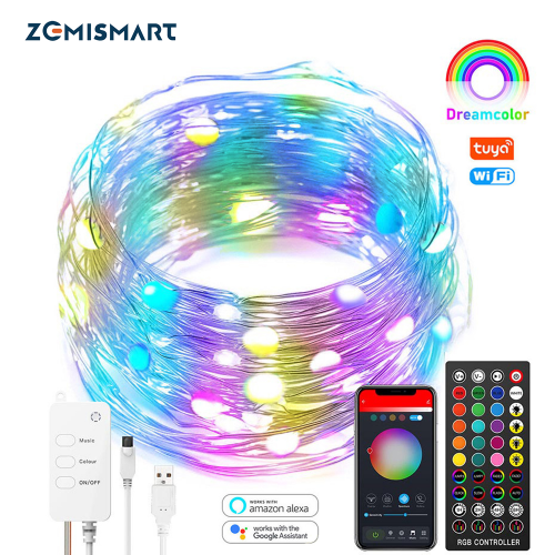 Zemismart Tuya WiFi Smart LED String Lights RGB USB Charge IP44 Strip Light Alexa Google Home Enable Remote Control Christmas Decoration