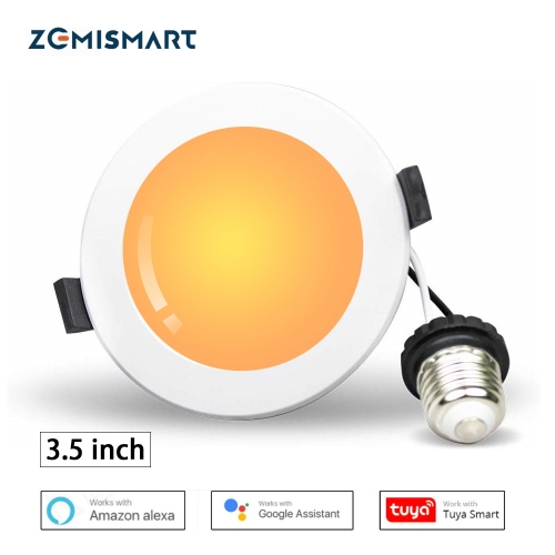 Zemismart US plug 3.5 Inch Tuya WiFI RGBCW Led Downlight Colorful Ceiling Light Alexa Google Home Enable Smart Life Control