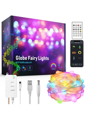 Zemismart WiFi Smart Globe Fairy Lights IP65 WaterProof RGB LED Strip Light Tuya Remote Christmas Tree Lights Decor USB Alexa Google Home