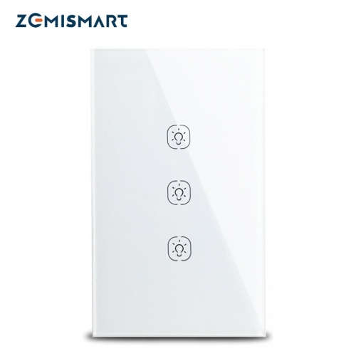 Zemisamrt Tuya Zigbee Switch Neutral Required US Interruptor Smart Life Remote Control Alexa Google Home Light Switches