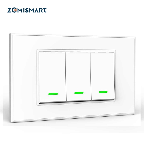 Zemismart TB21 Smart WiFi Luxury Wall Light Switch 1 2 3 Gangs Compatible with Smart Life App Alexa Google Home Voice Control