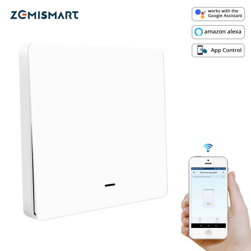 Zemismart WiFi No Neutral Light Switch Alexa Echo Google Home Enable Smart Life Physical Lamp switches with Big Push Button