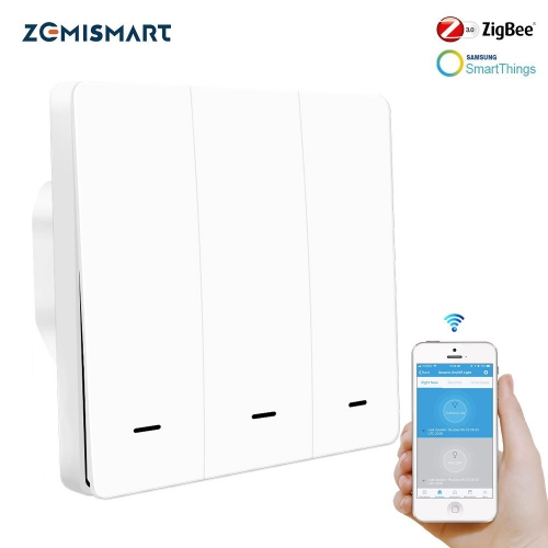 Zemismart Zigbee 3.0  EU Push Switches One Gang Wall Light Switch Compatible with SmartThing Hub APP Phone