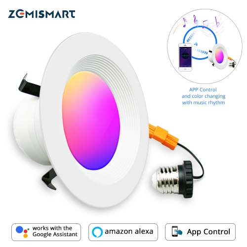 Smart LED Ceiling Light Zigbee  Downlight RGBCW 4 Inch US Type Alexa Echo Google Home Tuya Control