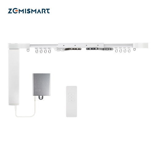 Zemismart Tuya Zigbee Smart Curtain Motor Customized Slide Curtain Track with Battery Remote Timer Alexa Google Home Voice