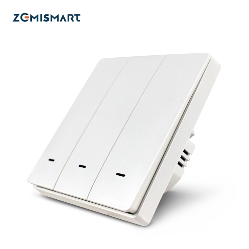 Zemismart Smart Tuya WiFi Light Switch Neutral Optional Wall Push Interruptor Physical Button Switch 110V 240V Alexa Google Home