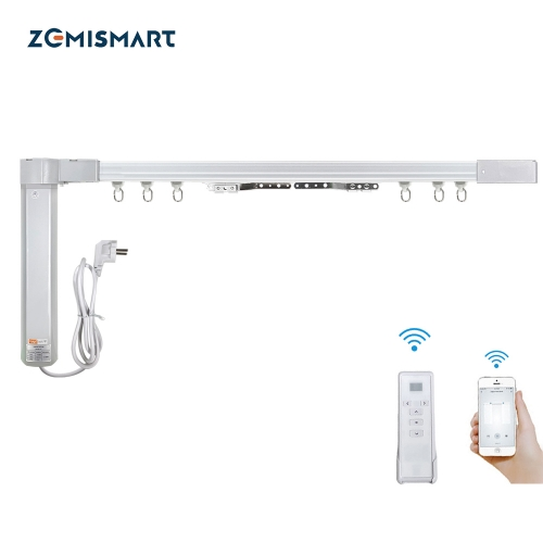 Zemismart Tuya WiFi Smart Curtain Customized Electric Curtain Motor With Tracket Alexa Google Home Enable RF Remote Control