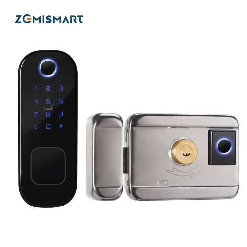 Zemismart Tuya WiFi Smart Lock Double Side Fingerprint Security Door Lock Wireless and Biometric Locks Encryption with Keys