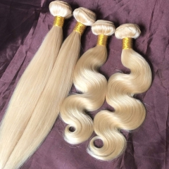 Wholesale Platinum Blonde Wave Hair Bundles #613 Hair Body Wave and Silky Straight