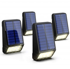 LOHAS Solar Fence Post LED Lights Outdoor, Wireless Dusk to Dawn Solar Light, Soft White 3000K, IP65 Waterproof, 4 Pack