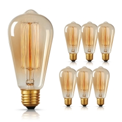 LOHAS ST64 Dimmable Filament Vintage Light Bulbs, E26 Medium Base, 60W ST64 Straight Filament Vintage Light Bulbs suitable for Home Lighting, 6 Pack.