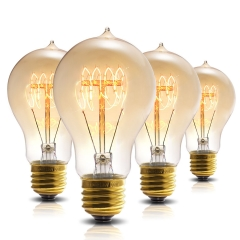 LOHAS Dimmable A19 Filament Vintage Light Bulbs, E26 Base, 60W Quad Loop Filament Vintage Light Bulbs suitable for Home Lighting, 4 Pack.