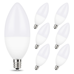 LOHAS LED Candelabra Light Bulbs,  Dimmable, 60W Equivalent(6W), 5000K Daylight White, E12 Base, Ideal for Chandeliers, Ceiling Fan Lights, 6 Pack