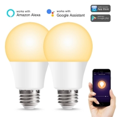 LOHAS A19 Smart LED Light Bulbs, 50W Equivalent (8W) Warm White 2700K Dimmable WiFi Light Bulb 2 Pack