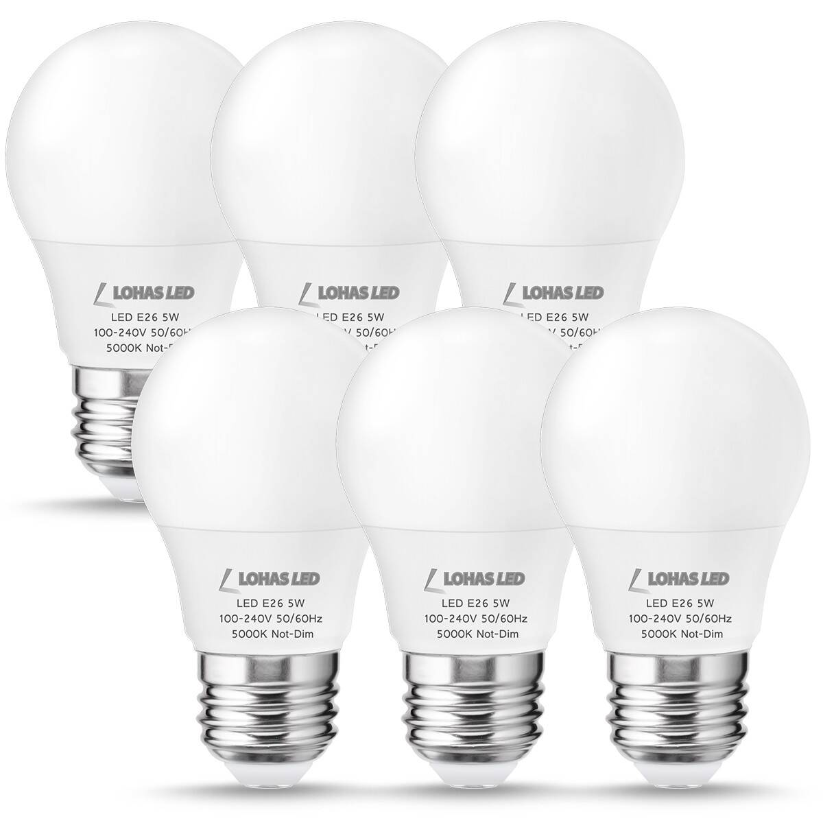 LOHAS LED Light Bulb, A15 E26 450LM 40W Equivalent(5W), Daylight 5000K, Not-Dimmable, LED Lamps for Refrigerator/Freezer Ceiling Home Lighting(6Pack)