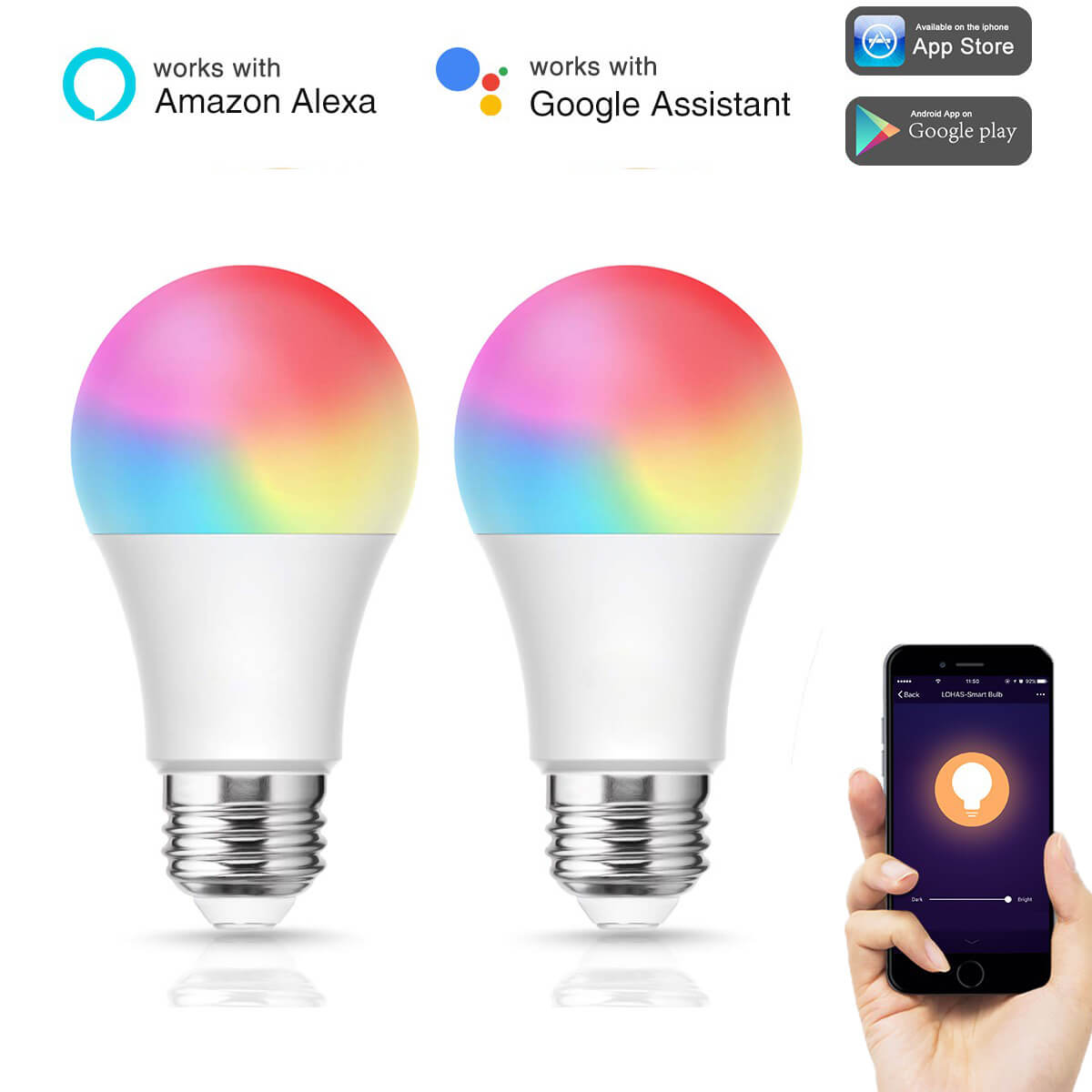 A19 Color Changing Light Bulb, 8W(60W Equivalent) Tunable White 2700K-6000K+RGB Smart Light Bulbs, 650LM, 2 Pack
