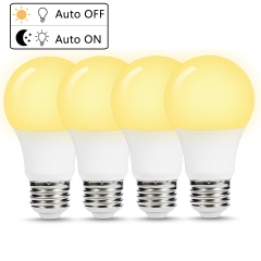 LOHAS A19 Dusk to Dawn LED Light Bulbs 40W Equivalent(6W), E26 Base, Warm White 2700K Indoor/Outdoor Lamp Lighting for Garage, Hallway 4 Pack
