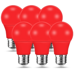 LOHAS Red A19 LED Light Bulb, 9W (60W Equivalent), E26 Base, for Bedroom, Living Room, Home Decoration, Pack of 6